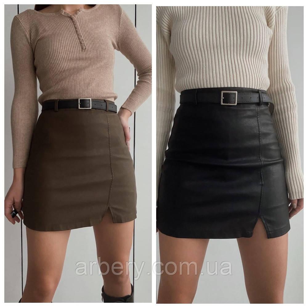Шикарная кожаная мини юбка с пояском