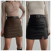 Шикарная кожаная мини юбка с пояском, фото 1