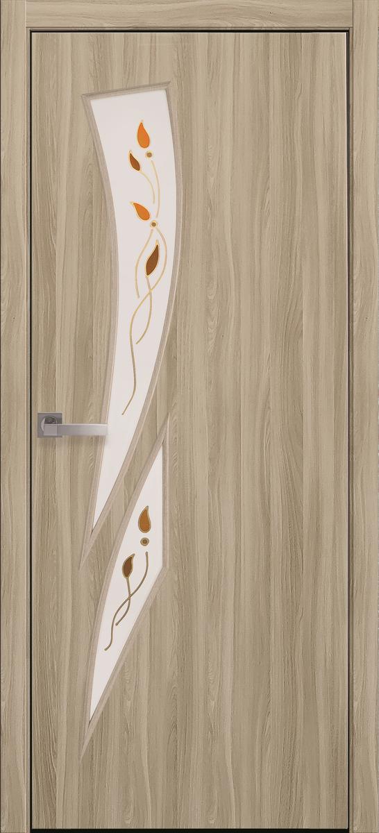 """Міжкімнатні двері """"Камея"""" G 800, колір сандал з малюнком Р1 , ліві"""