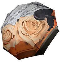 Женский зонт-полуавтомат от Max, с принтом нот и цветков розы персикового цвета,127-2, фото 1