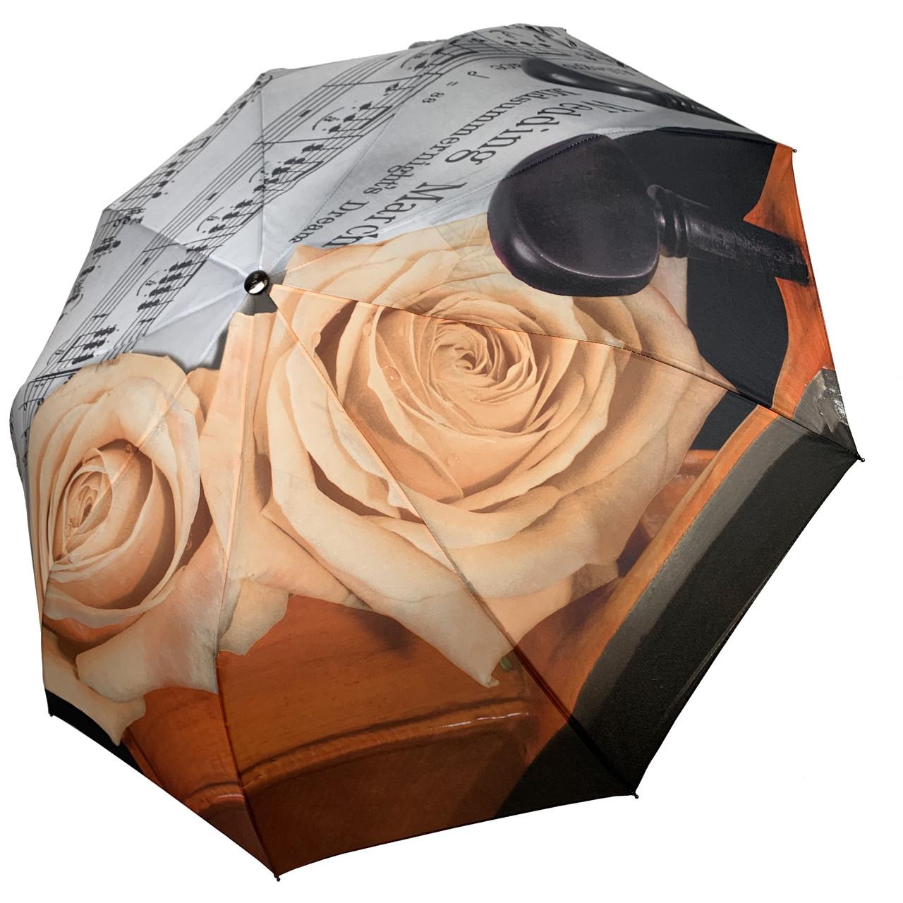 Женский зонт-полуавтомат от Max, с принтом нот и цветков розы персикового цвета,127-2