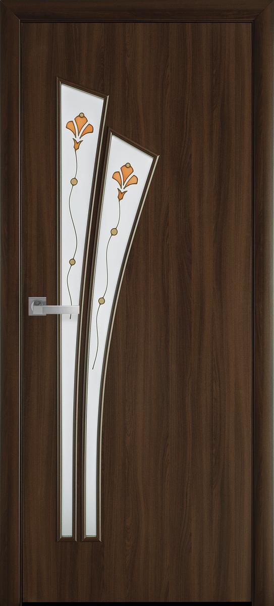 """Міжкімнатні двері """"Лілія"""" G 900, колір горіх 3D з малюнком Р1 , ліві"""