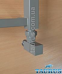 """Серый угловой кран CUBE Gray квадратной формы для полотенцесушителей, 1/2"""". TAURUS"""