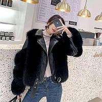 Женская кожаная куртка с меховыми вставками. Модель 2566, фото 2