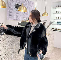 Женская кожаная куртка с меховыми вставками. Модель 2566, фото 3