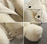Женская кожаная куртка с меховыми вставками. Модель 2566, фото 10