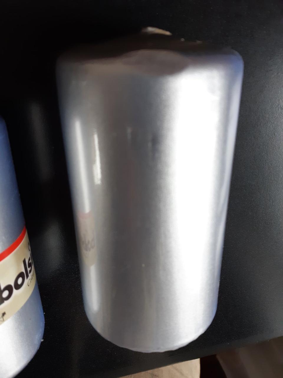 Свеча цилиндр Bolsius 12 см серебристая (УЦЕНКА)
