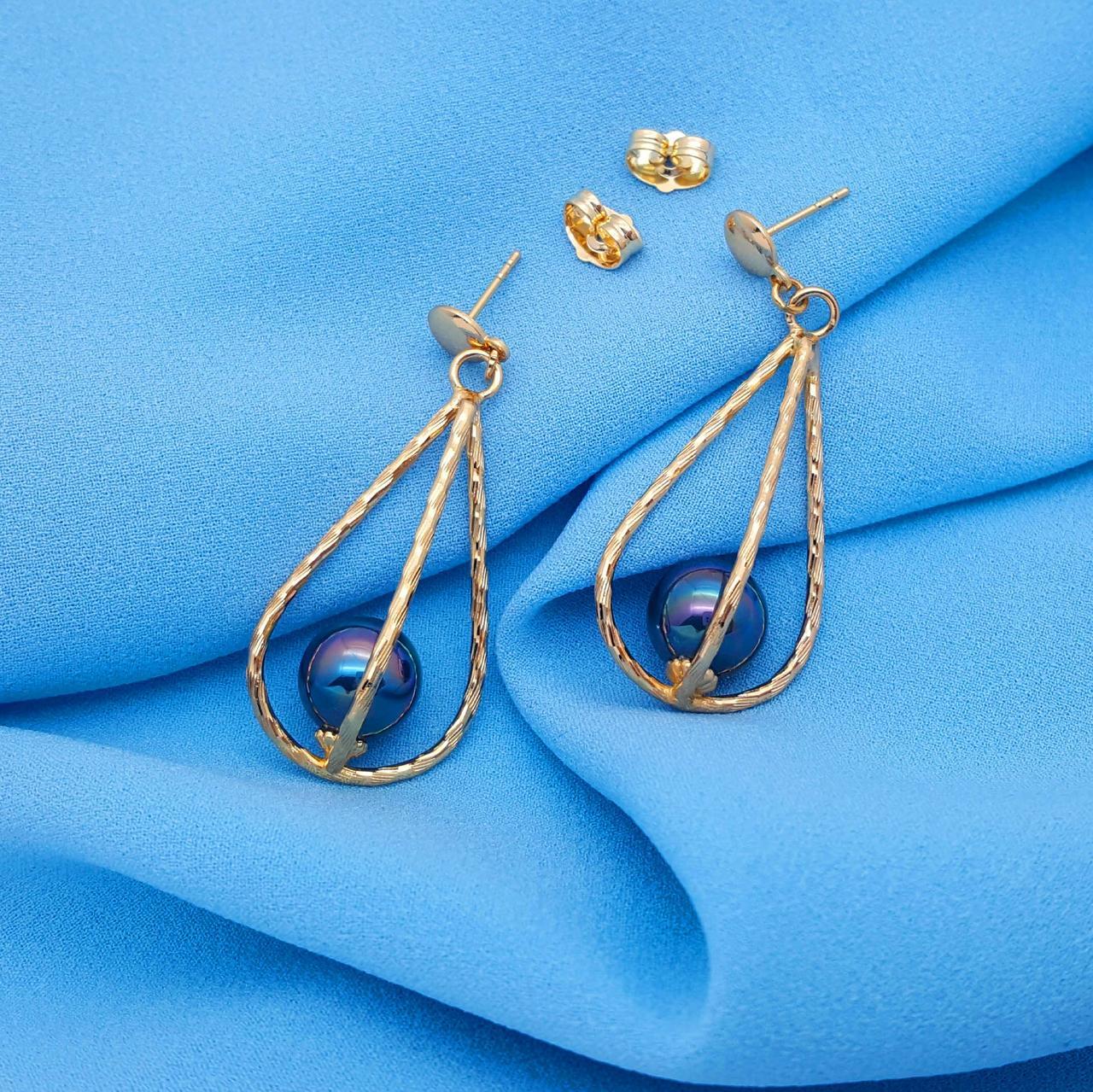 Сережки гвоздики, нарядні, Чорна Перлина, позолота Xuping