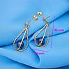Сережки гвоздики, нарядні, Чорна Перлина, позолота Xuping, фото 3