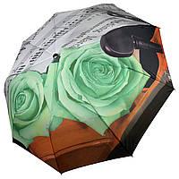 Женский зонт-полуавтомат от Max, с принтом нот и цветков розы зеленого цвета,127-3, фото 1