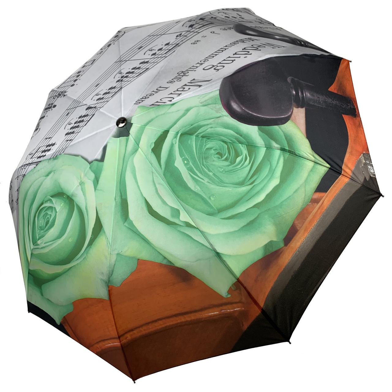 Женский зонт-полуавтомат от Max, с принтом нот и цветков розы зеленого цвета,127-3