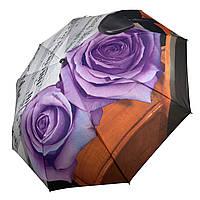 Женский зонт-полуавтомат от Max, с принтом нот и цветков розы фиолетового цвета,127-4, фото 1