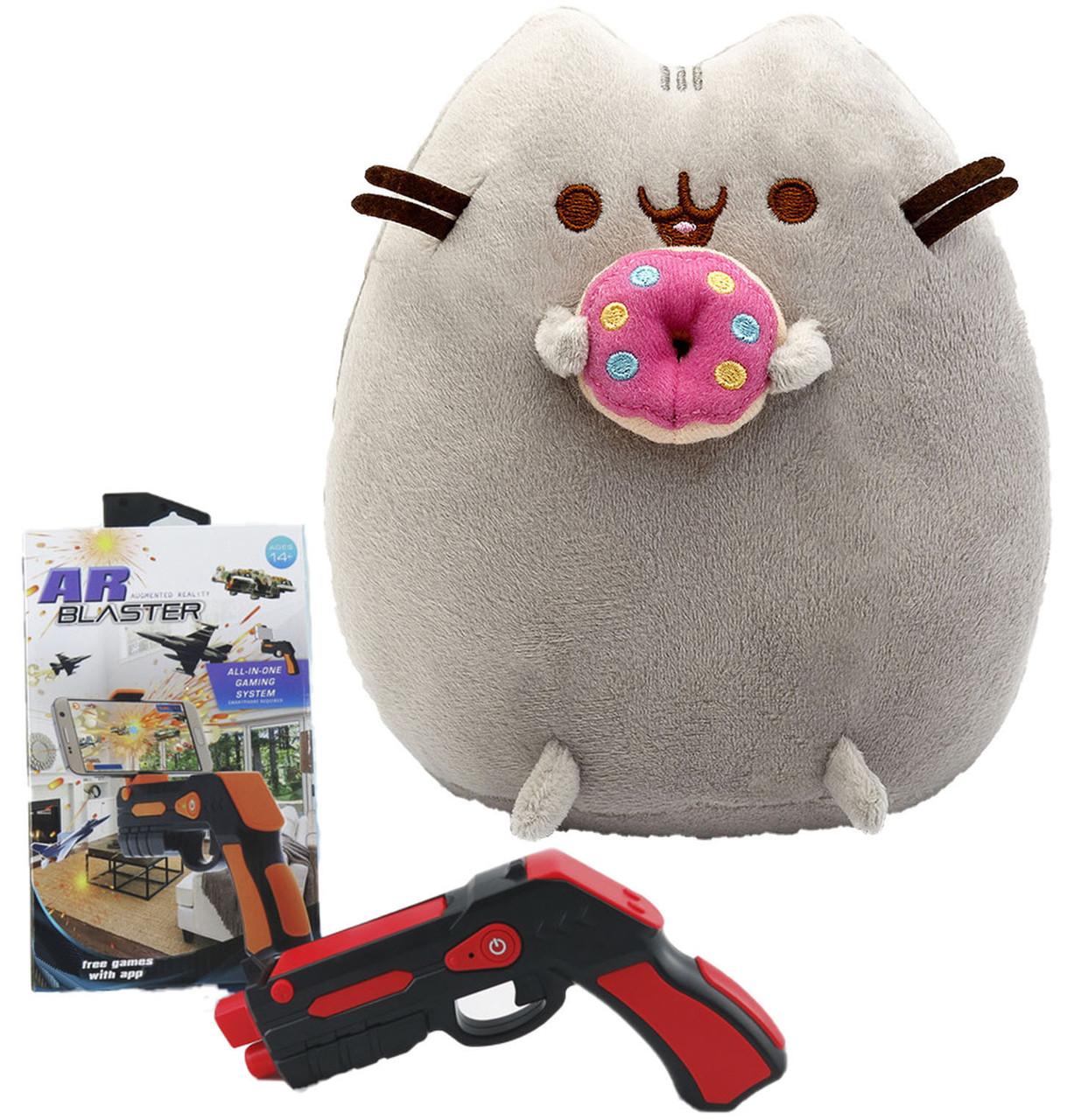 Комплект Мягкая игрушка кот с пончиком Pusheen cat и Пистолет дополненной реальности Красный (vol-699)