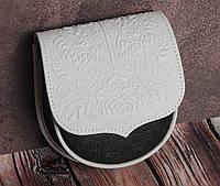 Маленькая тисненая белая сумочка из натуральной кожи, белая авторская сумочка, фото 1
