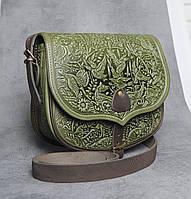 """Кожаная женская сумка, оливковая сумка через плечо """"Ягдташ"""", фото 1"""