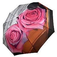 Женский зонт-полуавтомат от Max, с принтом нот и цветков розы ярко-розового цвета, 127-6