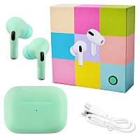 Беспроводные наушники Apl AirPros Pro TWS Bluetooth 5.0 стерео сенсорные, блютуз гарнитура, зеленые