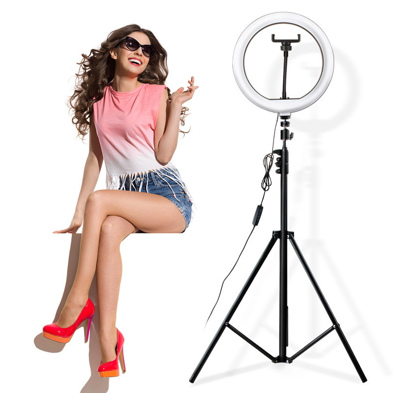 Кольцевая лампа светодиодная LK-33 для блогера, косметолога, визажиста (30 см) + штатив 2,1 метра
