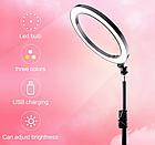 Кольцевая лампа светодиодная LK-33 для блогера, косметолога, визажиста (30 см) + штатив 2,1 метра, фото 7