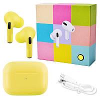 Беспроводные наушники Apl AirPros Pro TWS Bluetooth 5.0 стерео сенсорные, блютуз гарнитура, желтые