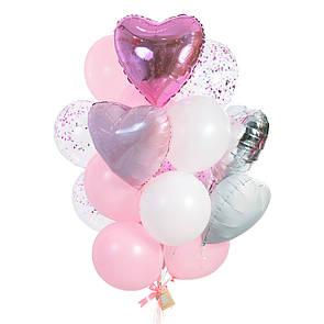 Связка: 2 сердца розовый металлик, 2 розовый пастель, 1 серебряное, 1 белое, 5 шаров розовых, 5 белых, 4 с, фото 2