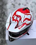 Мото шлем кроссовый 'FOX' белый глянец с красным рисунком, фото 6