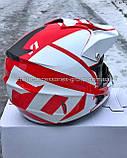 Мото шлем кроссовый 'FOX' белый глянец с красным рисунком, фото 3