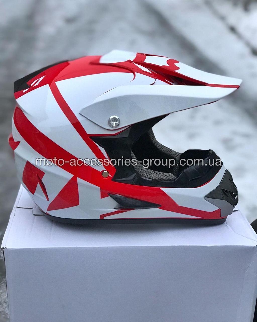 Мото шлем кроссовый 'FOX' белый глянец с красным рисунком