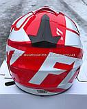 Мото шлем кроссовый 'FOX' белый глянец с красным рисунком, фото 2