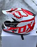 Мото шлем кроссовый 'FOX' белый глянец с красным рисунком, фото 5