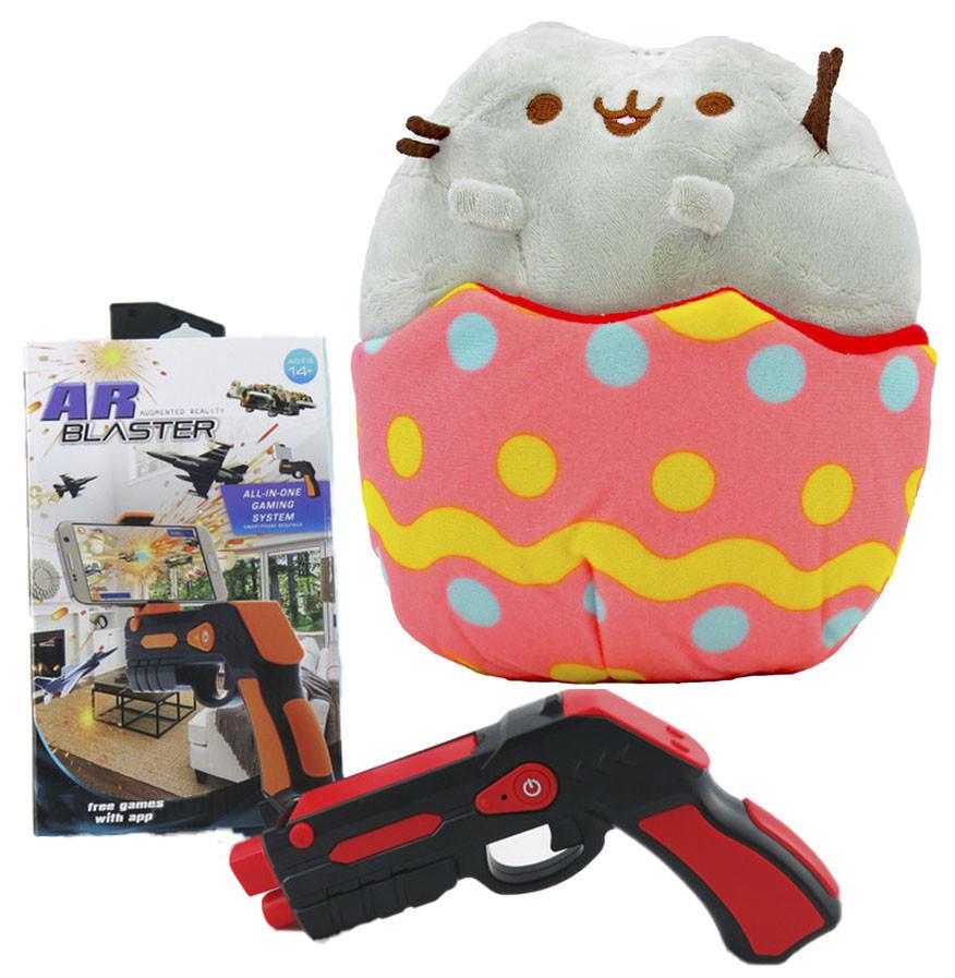 Комплект Мягкая игрушка кот в яйце Pusheen cat и Пистолет дополненной реальности Красный (vol-702)
