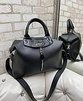 Женская сумка саквояж вместительная городская стильная на широком ремне черная кожзам, фото 1