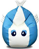 Кресло-Рыбка Bel.i.v. White-blue (кожзам FLY) 130х80