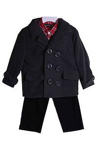Комплект: пальто, штаны, рубашка Для мальчиков Черный, красный, серый Размер  98-105
