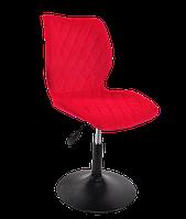 Красный барный стул на черном блине- шенилл Toni BK - Base - стильный стул в стильный интерьер