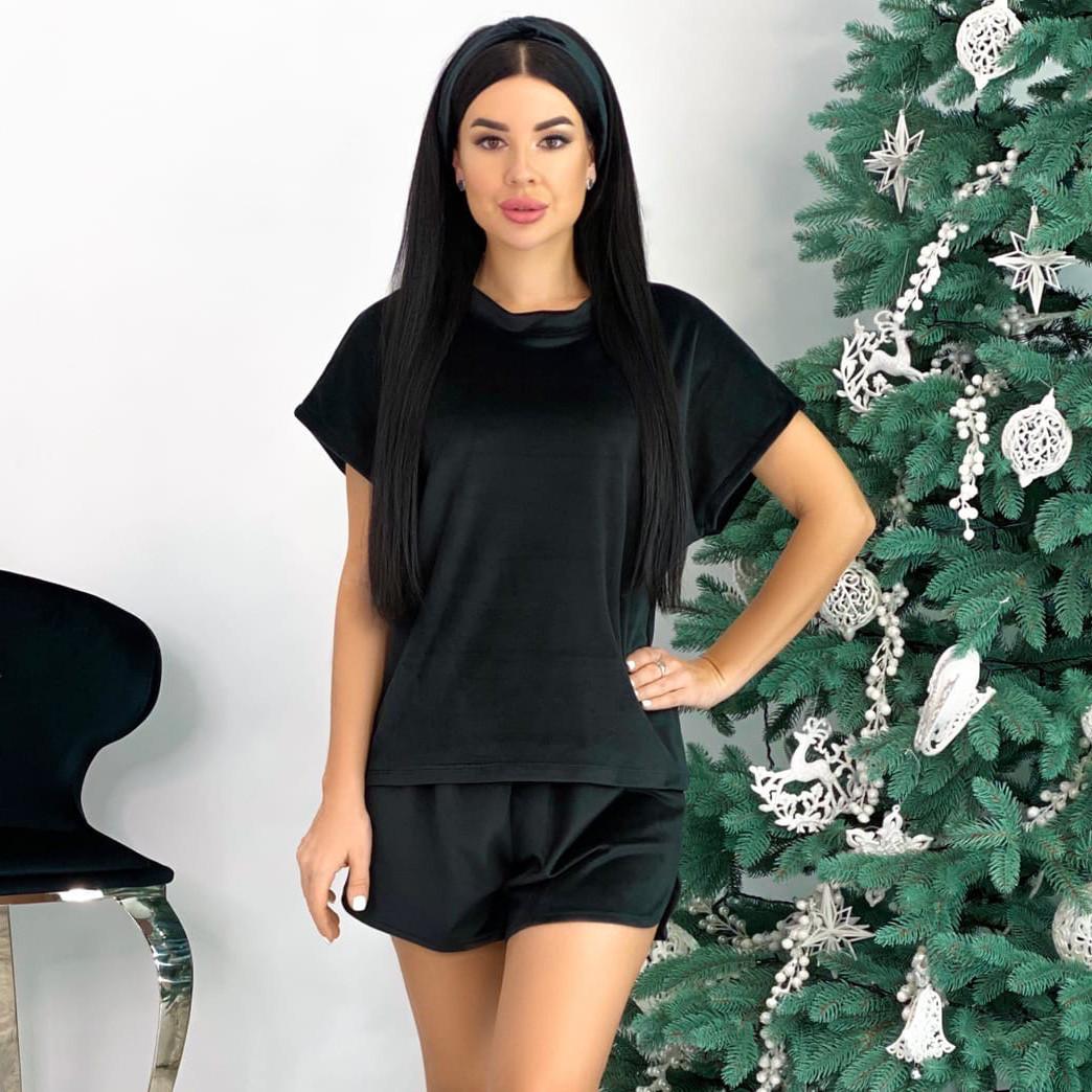 Чёрный домашний костюм 4 в 1 (футболка, брюки, шорты, повязка)