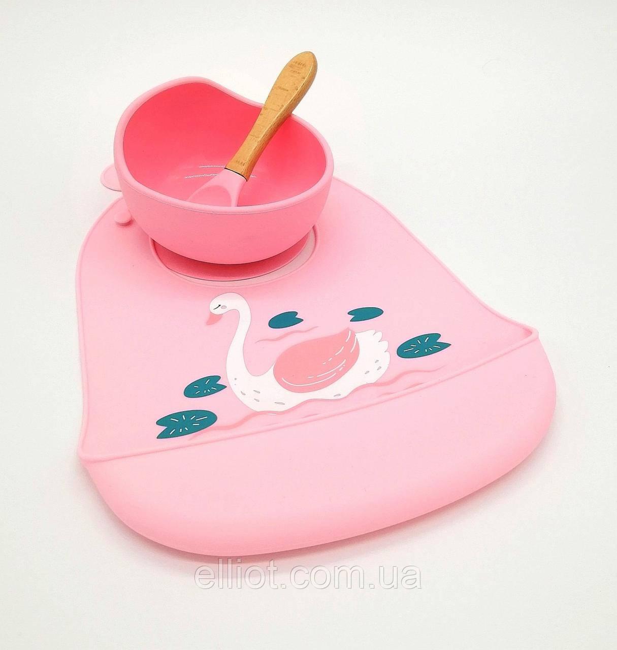 Набор Силиконовая тарелка с ложкой и слюнявчик розовый