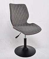 Серый барный стул на черном блине, бархатная обивка Toni BK - Base - стильный стул в стильный интерьер
