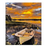"""Картина раскраска по номерам """"Лодка на озере"""", 40х50см. №30372"""