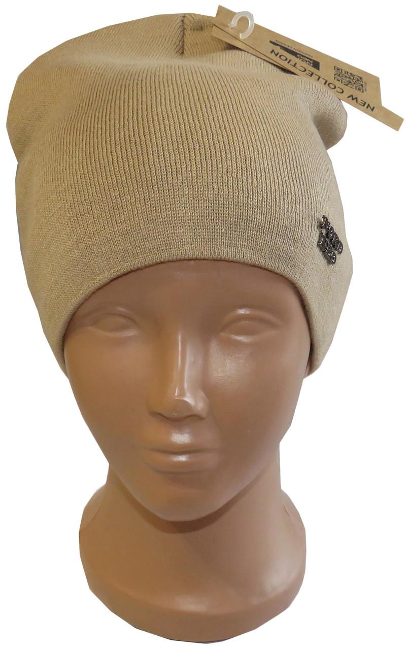 Теплая женкая шапка с флисовой подкладкою, бежевая