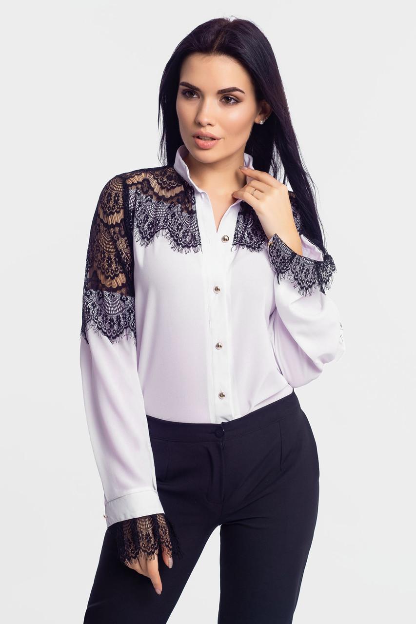 S, M, L, XL | Нарядна блузка з мереживом Glory, білий