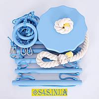 Детский набор для шведской стенки «ЭЛИТ» с тарзанкой, лазурь подвесной веревочный, фото 1
