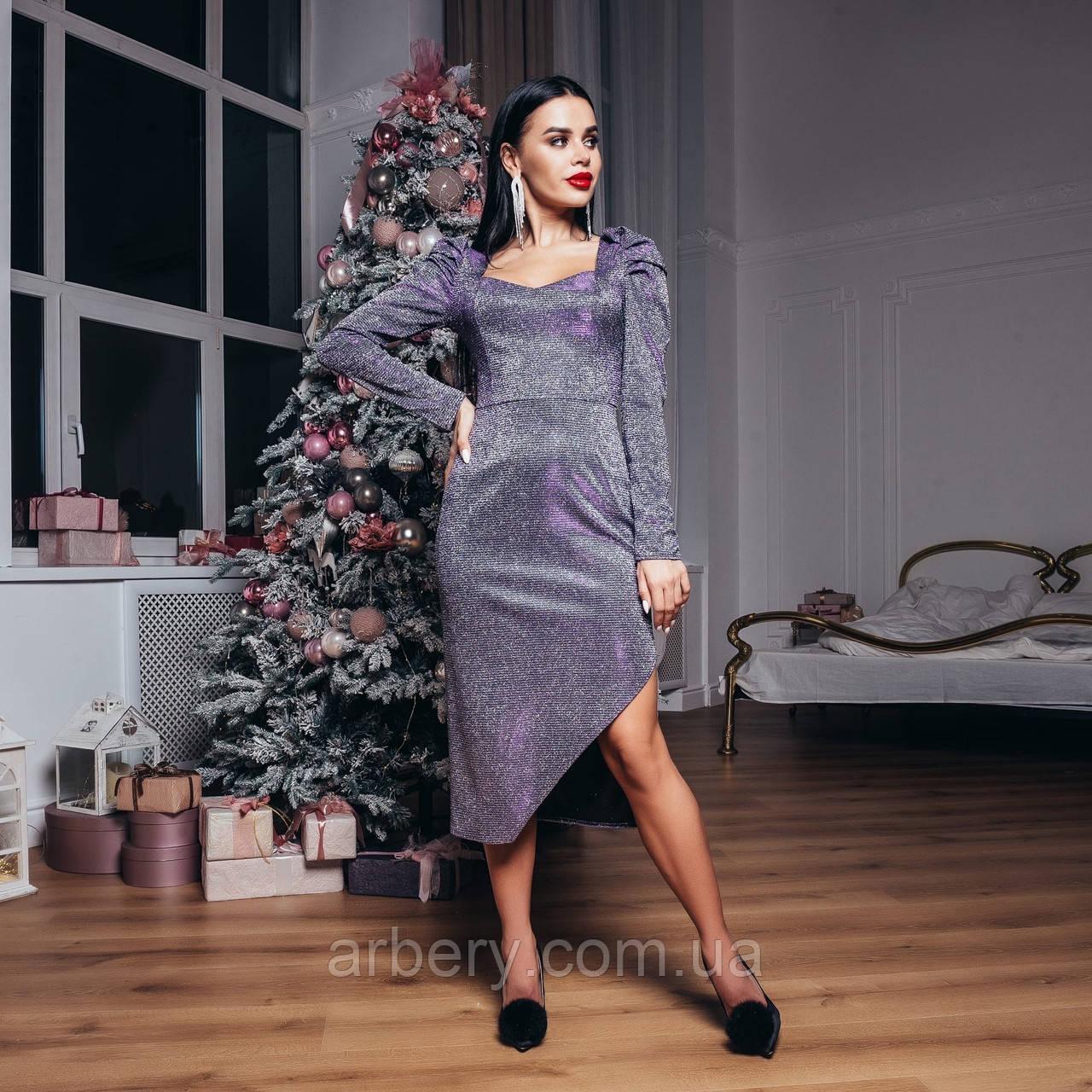 Шикарное мерцающее платье с разрезом