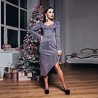 Шикарное мерцающее платье с разрезом, фото 1