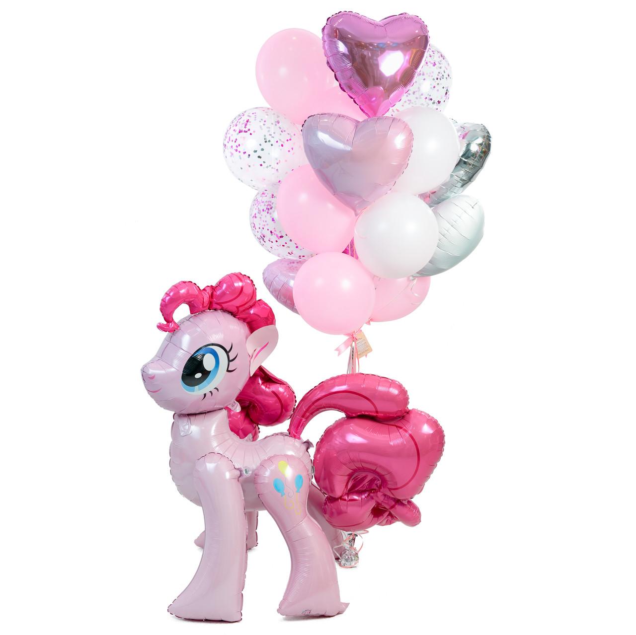Оформлення в стилі My Little Pony з ростової фігурою Пінкі Пай і зв'язкою повітряних куль