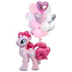 Связка: 2 сердца розовый металлик, 2 розовый пастель, 1 серебряное, 1 белое, 5 шаров розовых, 5 белых, 4 с