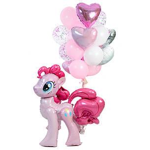 Оформлення в стилі My Little Pony з ростової фігурою Пінкі Пай і зв'язкою повітряних куль, фото 2