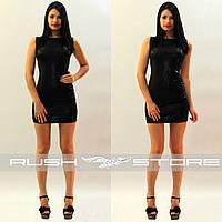 Женское чёрное мини-платье