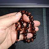 Четки Бычий Глаз с вставками Агат 33 бусины d-10мм, фото 5
