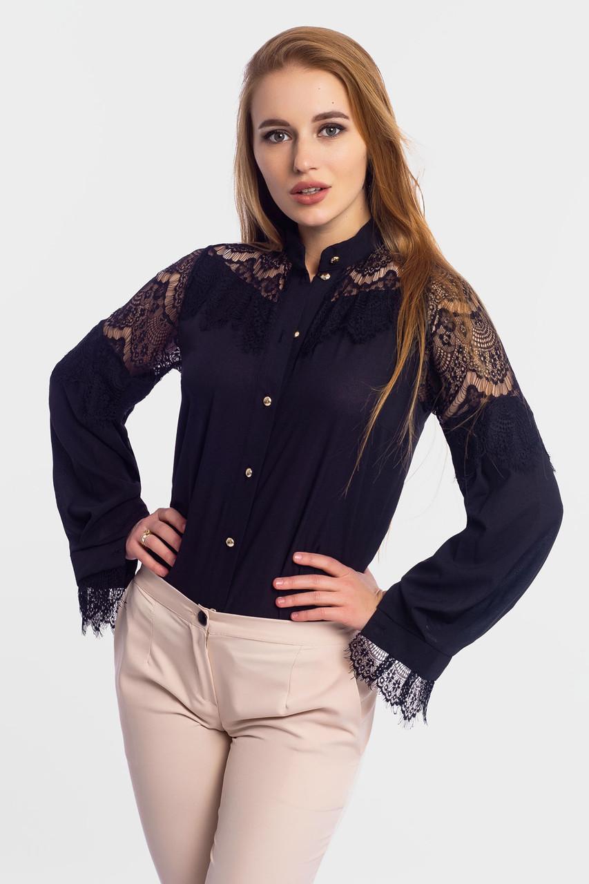 S, M, L, XL | Нарядна блузка з мереживом Glory, чорний